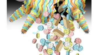 Illustration on drugs and the insecure border by Alexander Hunter/The Washington Times