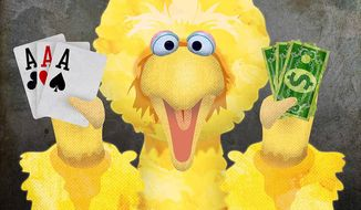 Big Bird Promoting Online Gambling to Minors Illustration by Greg Groesch/The Washington Times