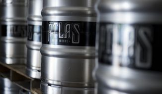 Kegs are stacked at Atlas Brew Works on West Virginia Avenue, NE. (Photo By Tom Williams/CQ Roll Call)  (CQ Roll Call via AP Images) ** FILE **
