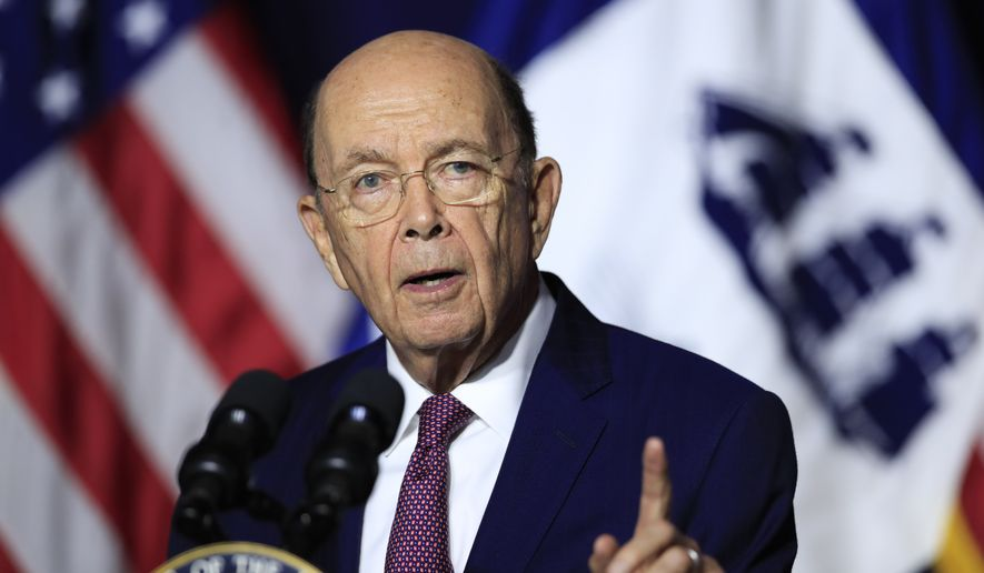 In this July 16, 2018, photo, Department of Commerce Secretary Wilbur Ross speaks to employees of the Department of Commerce in Washington. (Associated Press) **FILE**