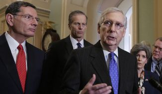 Senate Majority Leader Mitch McConnell, R-Ky., joined from left by Sen. John Barrasso, R-Wyo., and Majority Whip John Thune, R-S.D., speaks to reporters following a weekly policy meeting on Capitol Hill in Washington, Tuesday, Jan. 15, 2019. (AP Photo/J. Scott Applewhite)