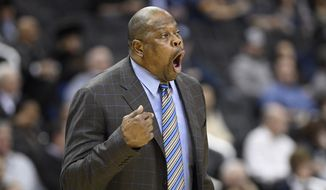 Georgetown head coach Patrick Ewing reacts during the first half of an NCAA college basketball game against Marquette, Tuesday, Jan. 15, 2019, in Washington. (AP Photo/Nick Wass) ** FILE **