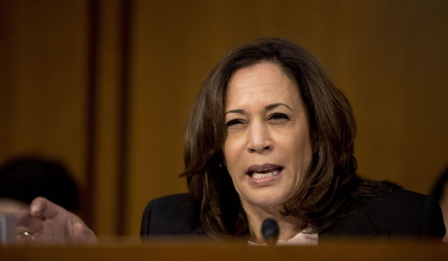 Sen. Kamala Harris, D-Calif. questions Attorney General nominee William Barr as he testifies before a Senate Judiciary Committee hearing on Capitol Hill in Washington, Tuesday, Jan. 15, 2019. As he did almost 30 years ago, Barr is appearing before the Senate Judiciary Committee to make the case he's qualified to serve as attorney general. (AP Photo/Andrew Harnik)