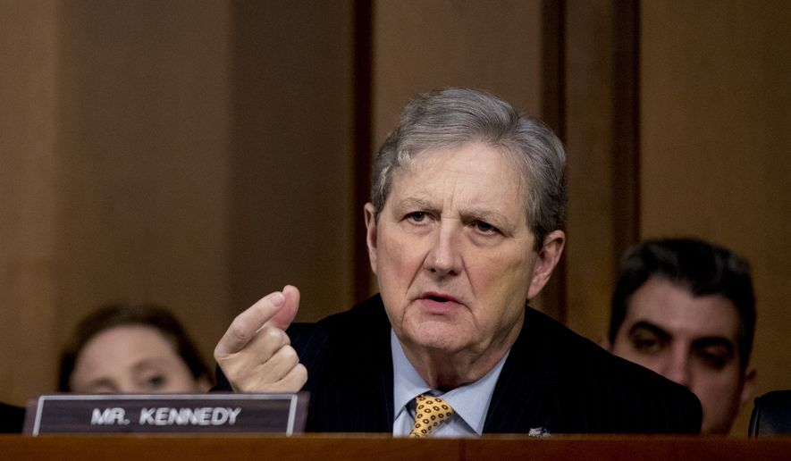 Sen. John Kennedy, R-La., questions Attorney General nominee William Barr as he testifies before a Senate Judiciary Committee hearing on Capitol Hill in Washington, Tuesday, Jan. 15, 2019. As he did almost 30 years ago, Barr is appearing before the Senate Judiciary Committee to make the case he's qualified to serve as attorney general. (AP Photo/Andrew Harnik)