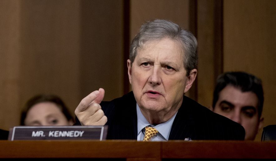 Sen. John Kennedy, R-La., questions attorney general nominee William Barr as he testifies before a Senate Judiciary Committee hearing on Capitol Hill in Washington, Tuesday, Jan. 15, 2019. (AP Photo/Andrew Harnik) ** FILE **