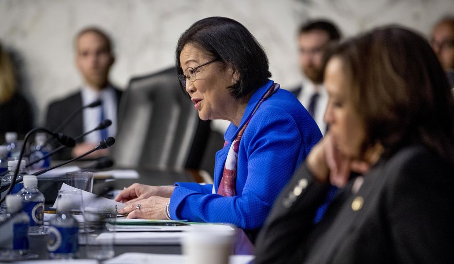 In this file photo, Sen. Mazie Hirono, D-Hawaii, questions then-Attorney General nominee William Barr as he testifies during a Senate Judiciary Committee hearing on Capitol Hill in Washington, Tuesday, Jan. 15, 2019. (AP Photo/Andrew Harnik) ** FILE **
