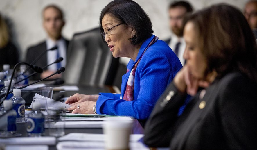 Sen. Mazie Hirono, D-Hawaii, questions Attorney General nominee William Barr as he testifies during a Senate Judiciary Committee hearing on Capitol Hill in Washington, Tuesday, Jan. 15, 2019. (AP Photo/Andrew Harnik)
