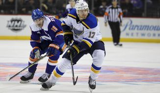 New York Islanders right wing Cal Clutterbuck (15) chases St. Louis Blues left wing Jaden Schwartz (17) during the second period of an NHL hockey game, Tuesday, Jan. 15, 2019, in New York. (AP Photo/Kevin Hagen)
