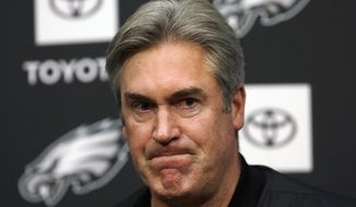 Philadelphia Eagles NFL football coach Doug Pederson listens to a reporter's question during a news conference Tuesday Jan. 15, 2019, in Philadelphia. The Eagles lost to the New Orleans Saints on Sunday, ending their season. (AP Photo/Jacqueline Larma)