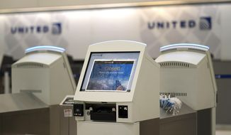United check-in kiosks are closed inside Terminal B at George Bush Intercontinental Airport Tuesday, Jan. 15, 2019, in Houston. The security checkpoint inside the terminal has been closed for several days. The partial government shutdown is starting to strain the national aviation system, with unpaid security screeners staying home, air-traffic controllers suing the government and safety inspectors off the job. (AP Photo/David J. Phillip)