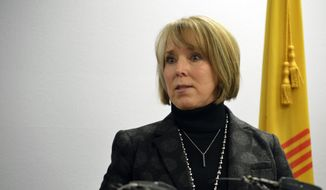 In this Monday, Jan 7, 2019, file photo, Gov. Michelle Lujan Grisham speaks at a news conference in Albuquerque, N.M.  (AP Photo/Russell Contreras, File) **FILE**