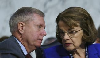 Senate Judiciary Committee Chairman Lindsey Graham, R-S.C., left, speaks with ranking member Sen. Dianne Feinstein, D-Calif., as Attorney General nominee William Barr testifies before the Senate Judiciary Committee on Capitol Hill in Washington, Tuesday, Jan. 15, 2019. (AP Photo/Carolyn Kaster)