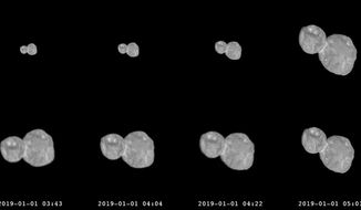 This combination of images provided by NASA shows a series of photographs made by the New Horizons spacecraft as it approached the Kuiper belt object Ultima Thule on Jan. 1, 2019. (NASA/Johns Hopkins University Applied Physics Laboratory/Southwest Research Institute via AP)