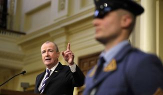 New Jersey Gov. Phil Murphy delivers remarks during his first State of the State address, Tuesday, Jan. 15, 2019, in Trenton, N.J. (AP Photo/Julio Cortez)