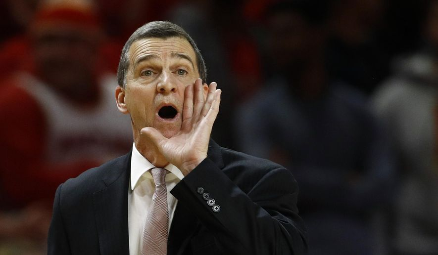 Maryland head coach Mark Turgeon directs his players in the second half of an NCAA college basketball game against Wisconsin, Monday, Jan. 14, 2019, in College Park, Md. (AP Photo/Patrick Semansky) **FILE**