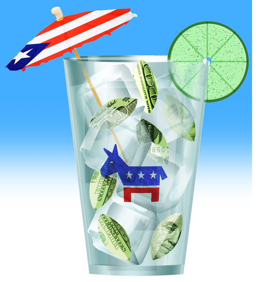 Illustration on the Democrats' junket to Puerto Rico by Alexander Hunter/The Washington Times