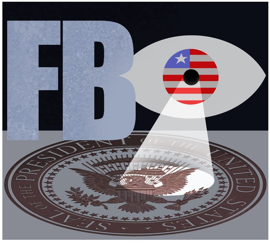 Illustration on the FBI and investigating the President by Alexander Hunter/The Washington Times