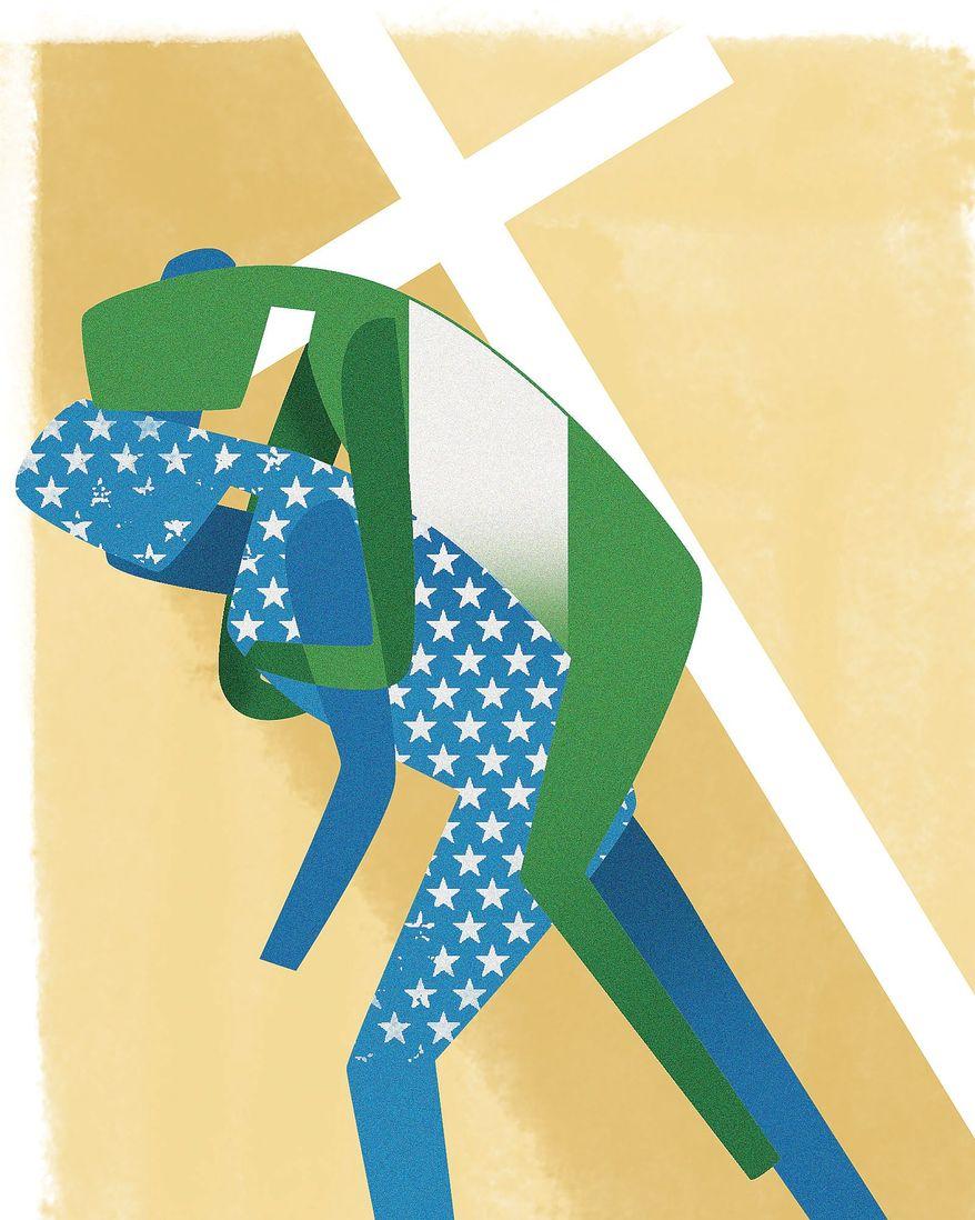 Illustration on saving Nigeria's christians by Linas Garsys/The Washington Times