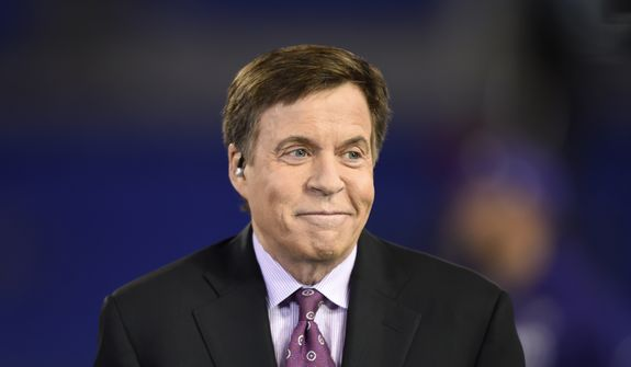 FILE - In this Nov. 10, 2016, file photo, NBC sportscaster Bob Costas appears before an NFL football game between the Baltimore Ravens and the Cleveland Browns, in Baltimore. NBC Sports said Wednesday, Jan. 16, 2019, that Costas parted ways with his longtime employer, providing no further details. (AP Photo/Gail Burton, File) **FILE**