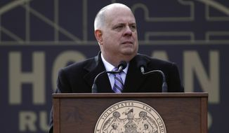 Maryland Gov. Larry Hogan delivers remarks at his inauguration ceremony, Wednesday, Jan. 16, 2019, in Annapolis, Md. (AP Photo/Patrick Semansky)