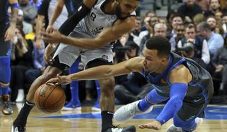 San Antonio Spurs guard Patty Mills (8) and Dallas Mavericks guard Jalen Brunson (13) chase a loose ball in the first half of an NBA basketball game, Wednesday, Jan. 16, 2019, in Dallas. (AP Photo/Richard W. Rodriguez)