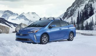 This undated photo provided by Toyota shows the 2019 Toyota Prius AWD-e. The Prius has been the fuel-sipping leader for almost two decades, but its front-wheel-drive layout limited its appeal in wet or icy regions. That changes with the new 2019 Prius AWD-e, which arrives at dealerships early this year. (Toyota Motor Sales U.S.A. via AP)