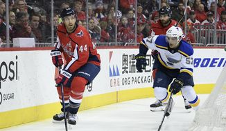 Washington Capitals defenseman Brooks Orpik (44) skates with the puck against St. Louis Blues left wing David Perron (57) during the first period of an NHL hockey game, Monday, Jan. 14, 2019, in Washington. Orpik played in his 1,000th NHL game tonight. The Blues won 4-1. (AP Photo/Nick Wass) **FILE**