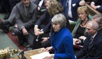 Britain's Prime Minister Theresa May speaks to parliament after she won a no-confidence vote against her government, in the House of Commons, London, Wednesday Jan. 16, 2019.  Prime Minister Theresa May won the no confidence vote called for by opposition Labour Party leader Jeremy Corbyn, following the dramatic failure of the government Brexit vote. (Jessica Taylor, UK Parliament via AP)