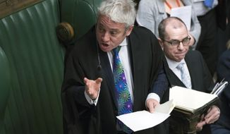 Speaker of the House of Commons John Bercow speaks during a debate before a government no-confidence vote in the House of Commons, London, Wednesday Jan. 16, 2019.  Prime Minister Theresa May won a no confidence vote later Wednesday.  (Jessica Taylor, UK Parliament via AP)