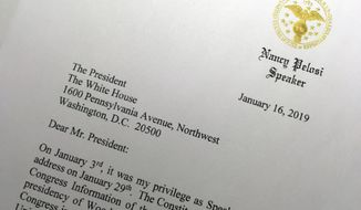 A portion of a letter sent to President Donald Trump from House Speaker Nancy Pelosi, Wednesday, Jan. 16, 2019 in Washington. Pelosi has asked President Trump to postpone his State of the Union address to the nation, set for Jan. 29, until the government reopens.  (AP Photo/Wayne Partlow)