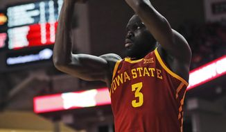 Iowa State's Marial Shayok shoots a 3-pointer during the first half of the team's NCAA college basketball game against Texas Tech, Wednesday, Jan. 16, 2019, in Lubbock, Texas. (AP Photo/Brad Tollefson)