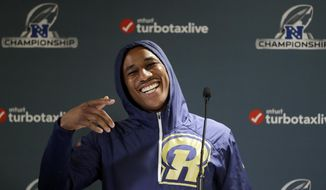 Los Angeles Rams cornerback Marcus Peters addresses the media during an NFL football press conference Wednesday, Jan. 16, 2019, in Thousand Oaks, Calif. The Rams face the New Orleans Saints in the NFC Championship on Sunday. (AP Photo/Marcio Jose Sanchez)