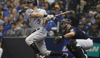 FILE - In this Oct. 5, 2018, file photo, Colorado Rockies' DJ LeMahieu hits a single during the third inning of Game 2 of the National League Divisional Series baseball game against the Milwaukee Brewers, in Milwaukee. A star second baseman for Colorado, LeMahieu is set to join a crowded New York Yankees infield. LeMahieu became a free agent after the season and got a $24 million, two-year contract with the Yankees. (AP Photo/Jeff Roberson, File)