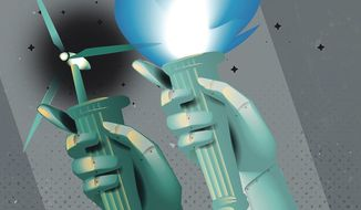 Illustration on the futuer of U.S. energy production by Linas Garsys/The Washington Times