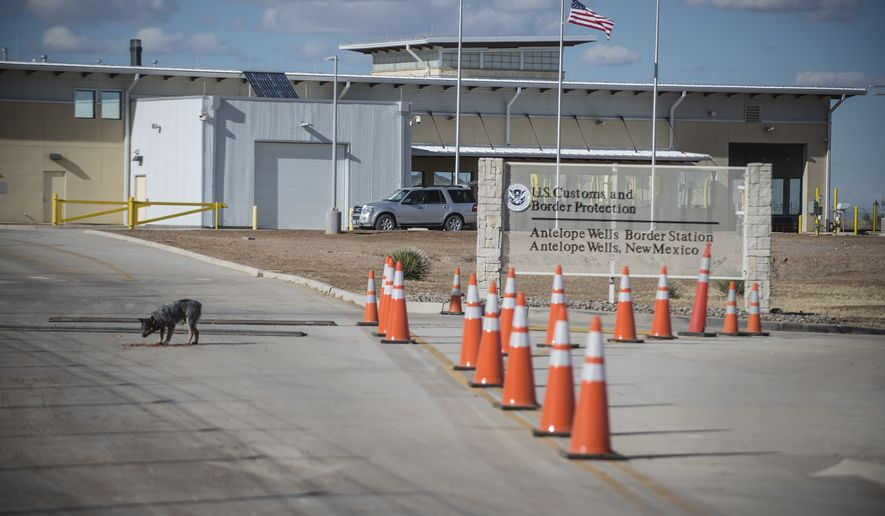 This Jan. 7, 2017, file photo, shows the Antelope Wells Port of Entry from the El Berrendo, Mexico, side of the border with southern New Mexico. U.S. Border Patrol agents in New Mexico say a group of nearly 250 immigrants are in custody after turning themselves in to authorities at the Antelope Wells Port of Entry. They say the group was located early Wednesday, Jan. 16, 2019, after being smuggled up to the New Mexico border and many claimed they needed medical care. (Roberto E. Rosales/The Albuquerque Journal via AP, File)