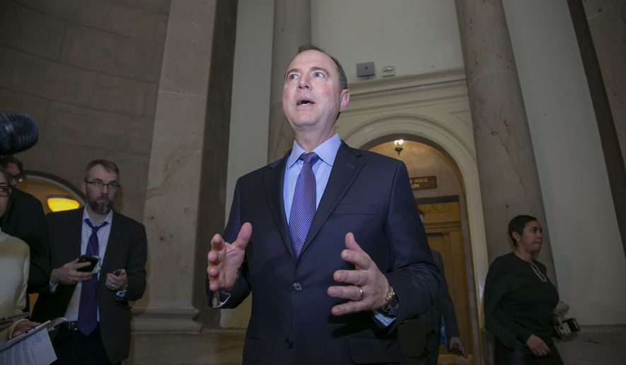 House Intelligence Committee Chairman Adam Schiff, D-Calif., talks to reporters outside the office of House Speaker Nancy Pelosi after President Donald Trump used his executive power to deny military aircraft to Pelosi to visit troops abroad, on Capitol Hill in Washington, Thursday, Jan. 17, 2019. (AP Photo/J. Scott Applewhite)
