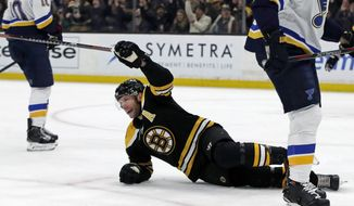 Boston Bruins right wing David Backes (42) celebrates his goal against the St. Louis Blues during the second period of an NHL hockey game Thursday, Jan. 17, 2019, in Boston. (AP Photo/Elise Amendola)