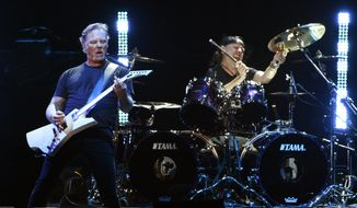 """James Hetfield, left, and Lars Ulrich of Metallica performs during """"I Am The Highway: A Tribute to Chris Cornell"""" at The Forum, Wednesday, Jan. 16, 2019, in Inglewood, Calif. (Photo by Chris Pizzello/Invision/AP)"""