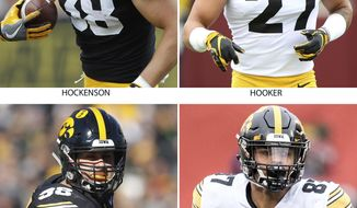 FILE - These are 2018 file photos showing Iowa NCAA college football players T.J. Hockenson, Amani Hooker, Anthony Nelson and Noah Fant. The Hawkeyes announced on Monday, Jan. 14, 2019, that T.J. Hockenson, a redshirt sophomore, will join teammates Noah Fant, Anthony Nelson and Amani Hooker as early entrees in the draft. (AP Photo/File
