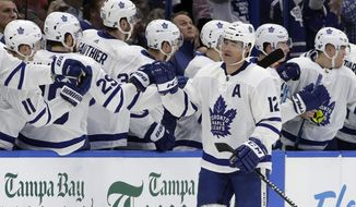 Toronto Maple Leafs center Patrick Marleau (12) celebrates with the bench after his goal against the Tampa Bay Lightning during the second period of an NHL hockey game, Thursday, Jan. 17, 2019, in Tampa, Fla. (AP Photo/Chris O'Meara)