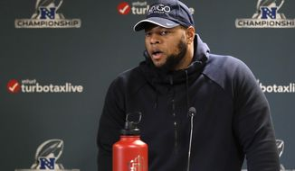 Los Angeles Rams defensive tackle Ndamukong Suh addresses the media during an NFL football press conference Wednesday, Jan. 16, 2019, in Thousand Oaks, Calif. The Rams face the New Orleans Saints in the NFC Championship on Sunday. (AP Photo/Marcio Jose Sanchez)