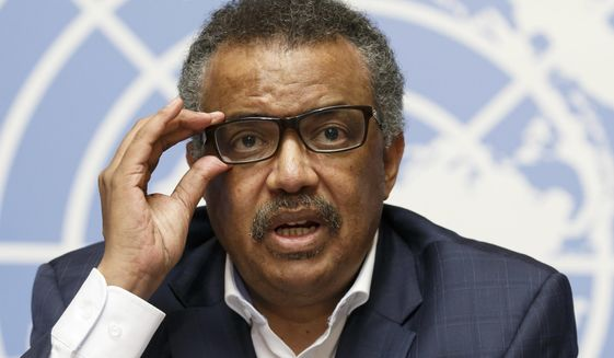 In this Tuesday, Aug. 14, 2018, file photo, Tedros Adhanom Ghebreyesus, director general of the World Health Organization (WHO), speaks during a press conference at the European headquarters of the United Nations in Geneva, Switzerland, on WHO Ebola operations in the Democratic Republic of the Congo (DRC). Tedros Adhanom Ghebreyesus has ordered an internal investigation into allegations the U.N. health agency is rife with racism, sexism and corruption, after a series of anonymous emails with the explosive charges were sent to top managers last year. (Salvatore Di Nolfi/keystone via AP, File)