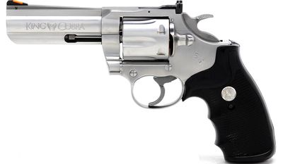 Colt King Cobra .357 - King Cobra is reincarnated for 2019 as the 6-Shot .357 Magnum big brother of the Colt Cobra Double Action revolver. Sporting a heavy-duty frame, 3-inch barrel, and brushed stainless steel construction, the King Cobra secures a new place in the legendary heritage that makes Colt double-action revolvers some of the hottest collectible firearms today