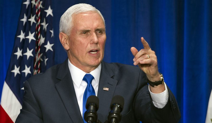 Vice President Mike Pence speaks at 2019 March for Life dinner in Washington, Friday, Jan. 18, 2019. (AP Photo/Cliff Owen)