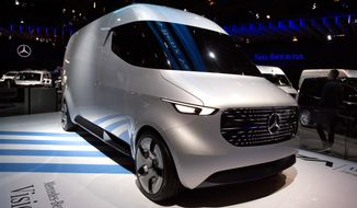 The Mercedes Benz Vision van during the opening of the Brussels Auto Show in Brussels, Friday, Jan. 18, 2019. (AP Photo/Virginia Mayo)