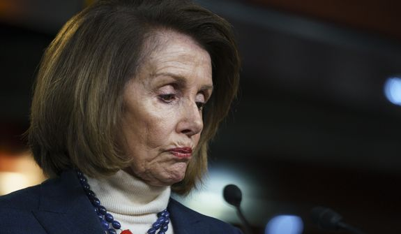 House Speaker Nancy Pelosi of Calif., pauses as she speaks during a news conference on Capitol Hill in Washington, Thursday, Jan. 17, 2019. (AP Photo/Carolyn Kaster)
