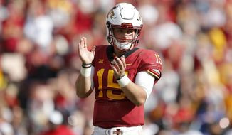 FILE - In this Oct. 27, 2018, file photo, Iowa State quarterback Brock Purdy reacts at the end of an NCAA college football game against Texas Tech, in Ames, Iowa.  (AP Photo/Charlie Neibergall, File)