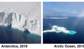 This combination of photos from NASA and the National Snow & Ice Date Center shows the Getz Ice Shelf in Antarctica in 2016, left, and a remnant of ice in the Chukchi Sea, part of the Arctic Ocean, in 2018. The Associated Press reported on Friday, Jan. 18, 2018, that these photos, from opposite poles of the planet, have been circulating on the internet as a pair, falsely purporting to show the deterioration of the same portion of sea ice from 2008 to 2018. (Jeremy Harbeck/NASA, Julienne Stroeve/NSIDC via AP)