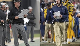 FILE - At left, in an Aug. 9, 2018, file photo, New Orleans Saints head coach Sean Payton watches from the sideline during the first half of an NFL preseason football game against the Jacksonville Jaguars, in Jacksonville, Fla. At right, in a Nov. 19, 2018, file photo, Los Angeles Rams head coach Sean McVay watches on the sideline during an NFL football game against the Kansas City Chiefs, in Los Angeles. One way or another, the NFC Championship between the Los Angeles Rams and New Orleans Saints will be won by a coach named Sean _ and with an Irish surname _ who designs and calls plays for one of the most innovative and productive offenses in the NFL.  (AP Photo/File)