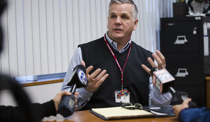 Upper Merion Area School District Superintendent John Tolueno speaks with members of the media in King of Prussia, Pa., Friday, Jan. 18, 2019. Schools in the suburban Philadelphia school district are closed after an undisclosed threat was received. (AP Photo/Matt Rourke)